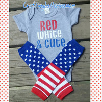 Merica Onesuit or Shirt - America Bodysuit - Mustache - First 4th of July - Stripe - Leg Warmers - 'Merica Onesuit - Baby Boy or Girl - Red
