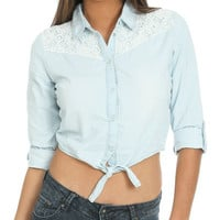 Lace Detail Denim Shirt | Shop Clearance at Wet Seal