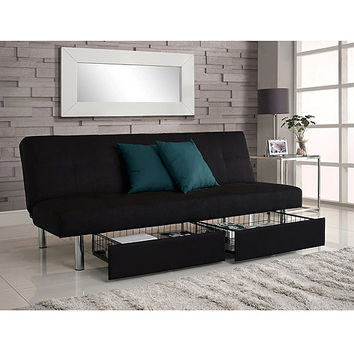 Walmart: Sola Futon with Storage Bins, Black