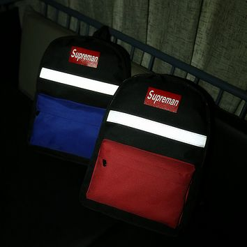 Supreme:Reflective  Casual Sport Laptop Bag Shoulder School Bag Backpack