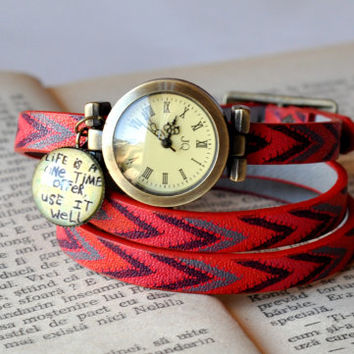 Red Leather Wrist Wrap Watch, Red Leather Vintage Watch, Wrist Watch Women Accessories Inspirational Quote