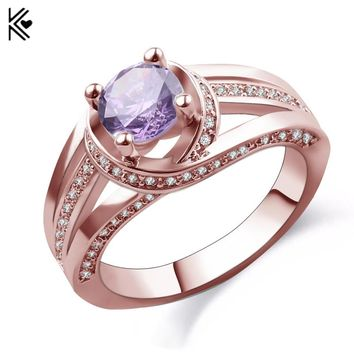 Charming Fashion Round Design Men Women Purple Ring Rose Gold Filled Yellow/White Jewelry Wedding Party Finger Rings Gifts Bague