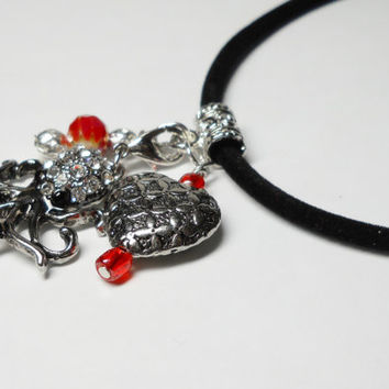 Beaded Necklace Octopus charm Heart, Red beads, Handmade in the USA, black velvet cord, silvertone chain Lobster claw clasp, Sanibel Island