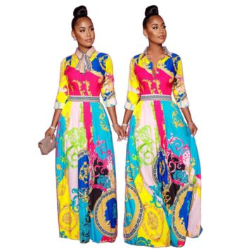 VersacePopular Women Retro Print Long Sleeve Lapel Dress