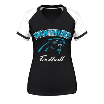 Carolina Panthers Majestic Womens Go For Two IV V-Neck T-Shirt - Black