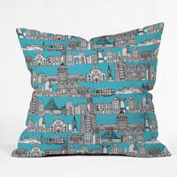 Sharon Turner San Francisco Blue Throw Pillow