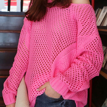 Pink Cut-out Long Sleeve Sweater