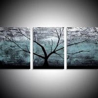 """ARTFINDER: triptych multi color 3 panel wall art color turquoise black white impasto tree in wood """"The Tree of life"""" turquoise edition 3 panel wall abstract canvas abstraction 120 x 40"""" by Stuart Wright - """"Turquoise Wood"""" impasto tree artwork turquoise..."""