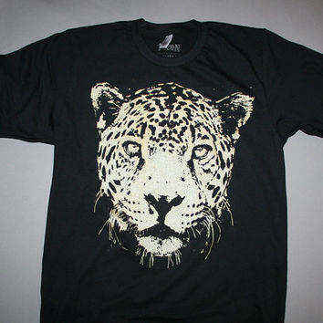 cheetah t-shirt, mens black tee, black tshirt, leopard tshirt, mens black tee, wildcat clothing, 1AEON black tee w Gold Leopard, mens unisex