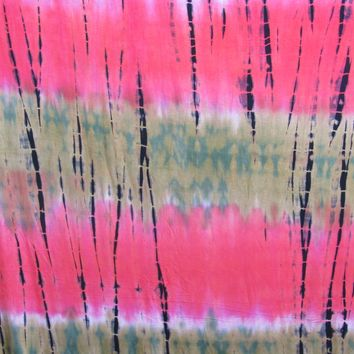Tie Dye Fabric, Rayon Stretch Jersey Knit Coral Hill Color Print