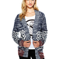 Tribal Print Marled Open Cardigan - Multi