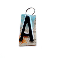 License Plate Letter Keychain you choose the letter, Ready to Ship Key Fob, OOAK Graduation present, Gift Tag, Custom wedding favor