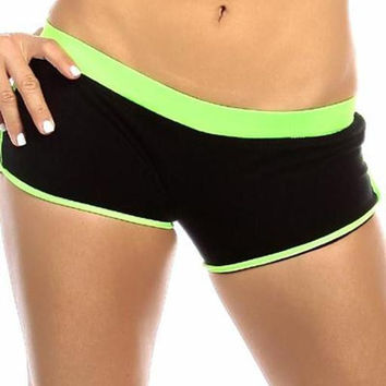 Sexy Neon Trim Fit Super Set Low Rise Athletic Gym Shorts - Black/Neon Green