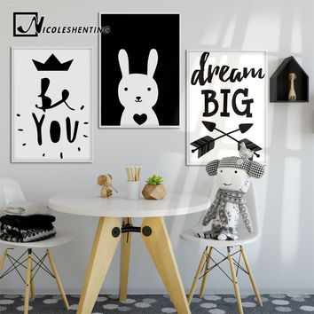 Black White Cartoon Rabbit Wall Art Canvas Motivational Posters and Prints Painting Nursery Picture Children Bedroom Home Decor