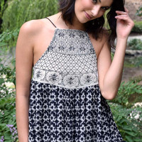 Stay Awhile Fringe and Tassel Halter Tank