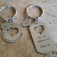 Hand Stamped Keychain - Couples Keychain - Wedding Gift or Anniversary Gift - My Heart Belongs To