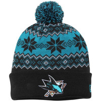San Jose Sharks New Era Snowburst Cuffed Knit Hat with Pom – Black