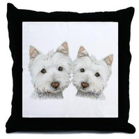 Two Cute West Highland White Dogs Throw Pillow on CafePress.com