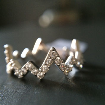 Sterling Silver Zig Zag Chevron Ring  - Multiple Sizes