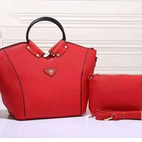PRADA COTHING TYPE Women Shopping Leather Satchel Tote Handbag red