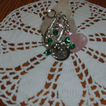 FREE SHIPPING Vintage Brooch With  A 1942 Silver Dime And Green Pink And Yellow Stones