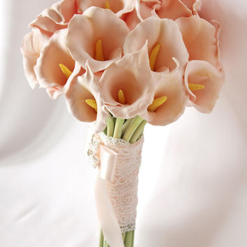 Wedding bouquet, Bridal bouquet, Handmade Clay Bridal Calla Lilly Bouquet & Groom's boutonniere Peach Calla Lilly Bridal bouquet