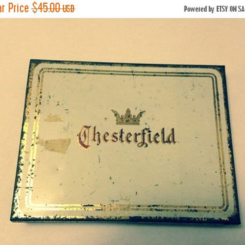 Now On Sale Chesterfield Cigarette Collectible Tobacco Case Tin Liggett & Myers Tobacco Fat 50's