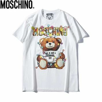 Moschino 2019 early spring new couple models color light bulb cartoon print bear short-sleeved T-shirt White