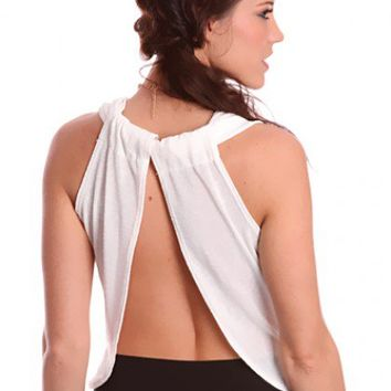 027fd5032b9 White Cut Out Back Relaxed Fit Sheer Top @ Amiclubwear Top Shirt Clothing  Online Store: