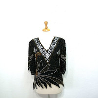 Vintage Black Silk Top Gold and Silver Sequin Beaded Pearl Trophy Blouse 80s Glam Medium