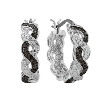 Genuine Black and White Diamond Accent Infinity Hoop Earrings