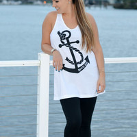 this anchor dress , shirt, tunic clothing is sporty girl apparels signature anchor design