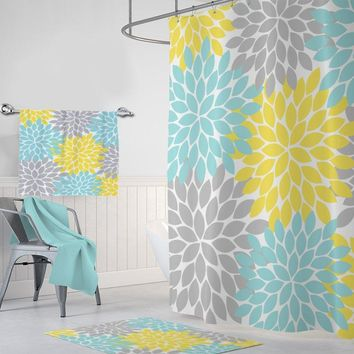 Yellow Aqua Gray Flower SHOWER CURTAIN, Yellow Aqua Gray Bathroom Decor, Custom MONOGRAM Personalized Girl Bath Flower Bath Towel Bath Mat