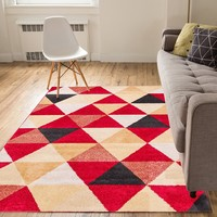 2901 Red Beige Geometric Design Contemporary Area Rugs