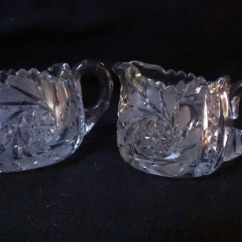 Lead Crystal Cut Glass Sugar & Creamer (401)