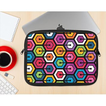 The Colorful Vibrant Hexagons Ink-Fuzed NeoPrene MacBook Laptop Sleeve