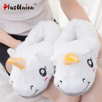flat with indoor cotton solid unicorn slippers furry fluffy house mules fur platform f