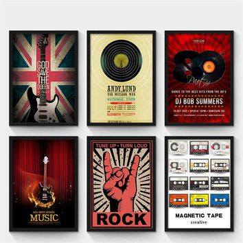Modern abstract Guitar Vintage music bar canvas painting decorative wall posters art prints creative coffee shop home decor