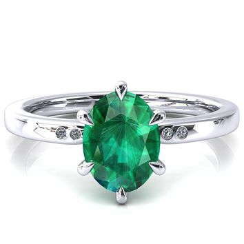 Maise Oval Emerald 6 Prong Diamond Accent Engagement Ring