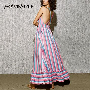 TWOTWINSTYLE Striped Print Dress Off Shoulder Backless Strapless Tunic High Waist Long Mermaid Dresses Ladies Sexy 2018 Clothing