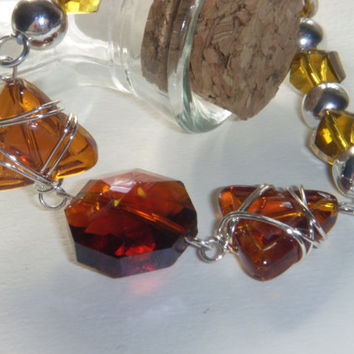 Wire Wrapped Amber Glass Beaded Bracelet by Baublebys on Etsy