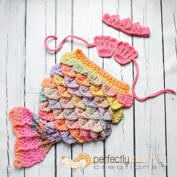 Ready To Ship Newborn Baby Girl Pink Mermaid Tiara Cape Set Crochet Photo Prop