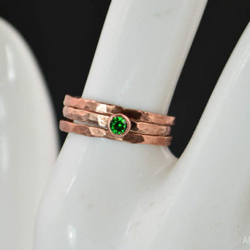 Copper Emerald Ring, Classic Size, Stackable Rings, Mother's Ring,  May Birthstone, Copper Jewelry, Emerald Ring, Hammered Copper Ring