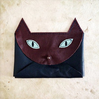 Handmade Leather burgundy navy and turquoise envelope style cat wallet with copper hardware
