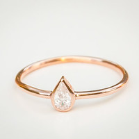Pear Diamond Ring - Pear Engagement Ring - Pear Ring - 18k Solid Gold Ring - Pear Cut Diamond Engagement Ring