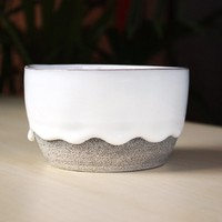 Handmade Drippy Bowl: White