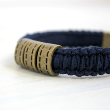 Men Navy Blue Woven Leather Macrame Survival Paracord Bracelet Military Urban Jewelry Gift for Him
