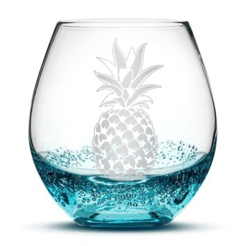 Bubble Wine Glass with Pineapple Design, Hand Etched