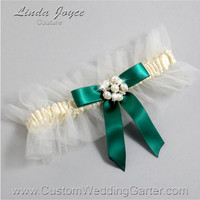 "Ivory and Green Tulle Wedding Garter Bridal ""Natalie"" Silver 871 Ivory 925 Hunter Green Forest Prom Luxury Garter Plus Size & Queen Size"