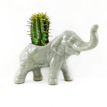 Vintage Ceramic Elephant Planter / African Inspired Animal Caddy / Unique Home Accent / Succulent, Cactus Planter